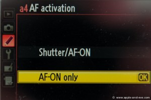 "Option a4 in the Custom Settings menu - set it to ""AF-ON""."