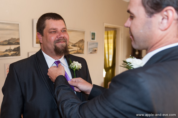 The groom getting ready.