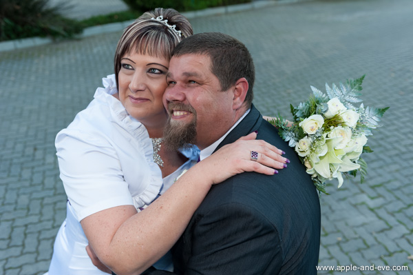 The happy bride and groom.