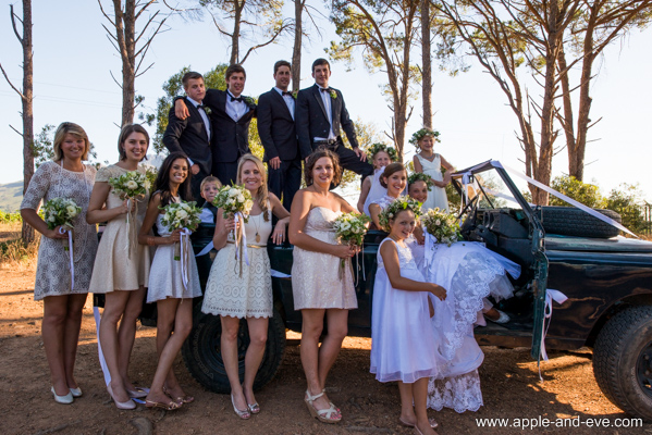Bridal party in the forest.