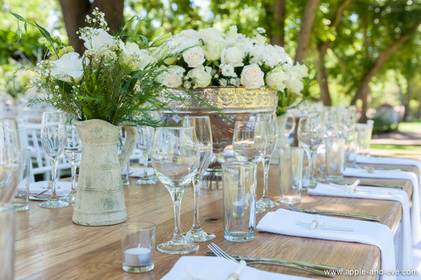The tables were ready in the garden.