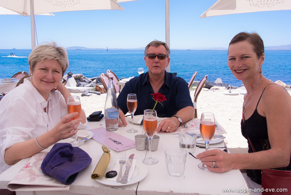 Lunch preceded by lovely sparkling wine at a restaurant right on the beach. How civilised is that!