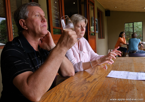 Lunch at a restaurant on a wine estate is often preceded by a wine tasting - a good way to determine which wines to have with your food afterwards.