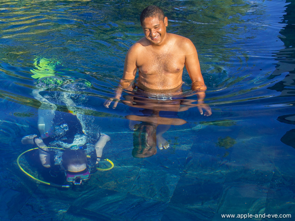 Pascal, the instructor, looking very pleased with his student who took to scuba diving like the proverbial duck to water!