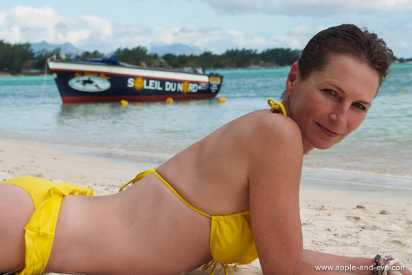Relaxing on the Mont Choisy beach.