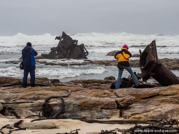 Photographers snapping away at the chunks of shipwreck metal.