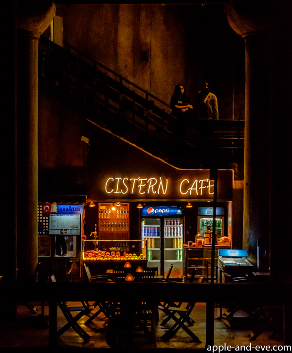The only thing modern (except the subdued lighting) is this café at the exit from the cistern.