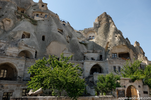 Rock dwellings converted into a luxury hotel.