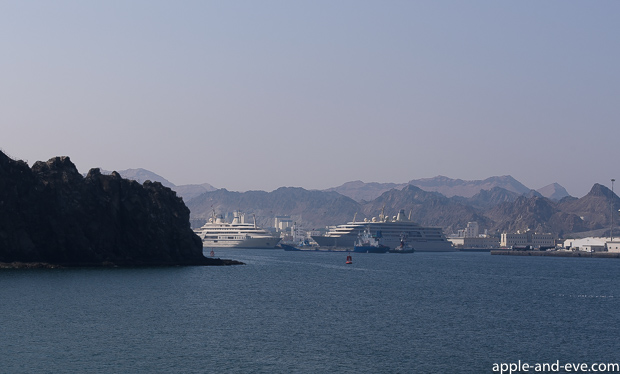 View of the Sultan Qaboos port as seen from the Corniche, the road that runs along the port perimeter.