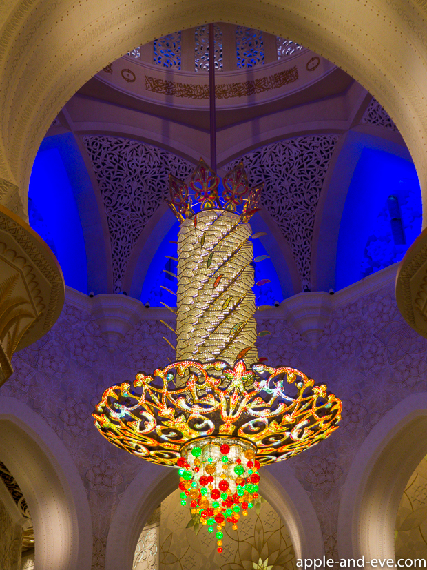 A massive chandelier containing Swarovski crystals.